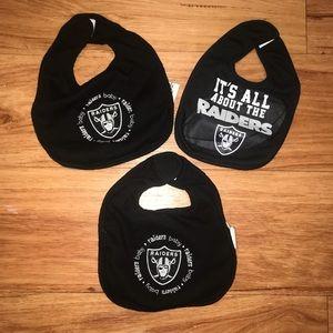 3 New Oakland Raiders bib spit up neck tie
